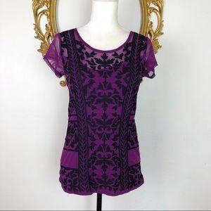 INC Purple Black Embroidery Blouse Size M